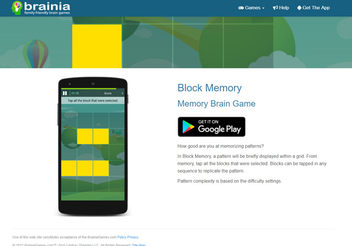 Block Memory Brain Game